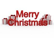 3d rode witte vrolijke Kerstmis van de giftdoos Royalty-vrije Stock Afbeeldingen