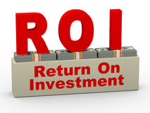 3d roi - return on investment. 3d illustration of roi - return on investment on dollar packs Royalty Free Stock Photos