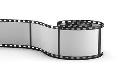 3D rolled out film strip. On white background Stock Photography