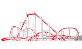 3d roller-coaster. On a white background Royalty Free Stock Photos