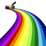 3d roller over rainbow, on white background Stock Photography