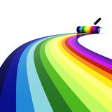 3d roller over rainbow, on white background Stock Photo