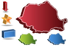 3D Romania Country Map. Isolated on a white background Royalty Free Stock Photo