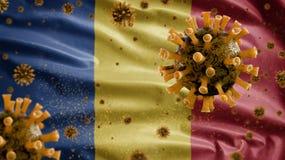 Free 3D, Romanian Flag Waving With Coronavirus Outbreak. Romania Covid 19 Royalty Free Stock Photos - 216315038