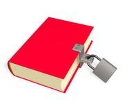 3d rood boek, dat op het slot wordt gesloten Stock Foto's
