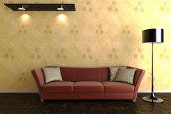 3d room with a red sofa Royalty Free Stock Photography