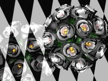 3D rose bouquet over chess background Royalty Free Stock Image