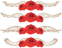 3D Rose with Wings. 3D Red Rose with Wings (set of 4 Royalty Free Stock Image