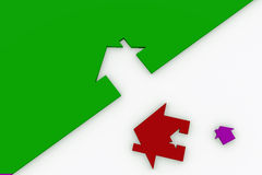 3d rot und weißes Hauszeichen getrennt auf Weiß Lizenzfreie Stockfotos