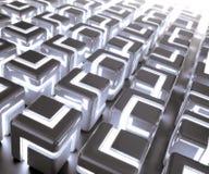 3d rougeoyant cube le fond Images libres de droits