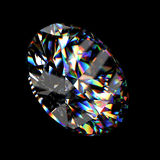 3d Round brilliant cut diamond. 3d rendering of a diamond ring on black Royalty Free Stock Photography