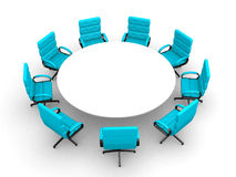 3d round conference room, isolated on white. This is 3d render illustration Stock Photos