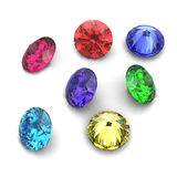 3d Round gems cut diamond perspective Royalty Free Stock Image