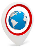 3d round pointer with earth globe. On white background Stock Photo