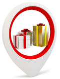 3d round pointer with gift boxes. On white background stock illustration