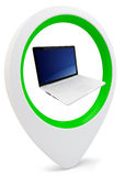3d round pointer with laptop Royalty Free Stock Images