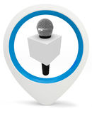3d round pointer with microphone Royalty Free Stock Photo