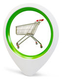 3d round pointer with push cart Royalty Free Stock Photo