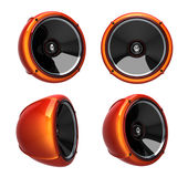 3D round speakers. Isolated 3D orange round speakers Stock Photos