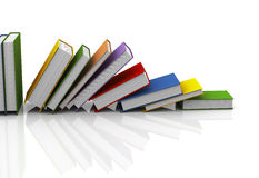 3d row of books. 3d illustration of row of books on white reflective background Royalty Free Stock Photo