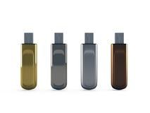 3d Row of metallic USB flash drives Stock Photography