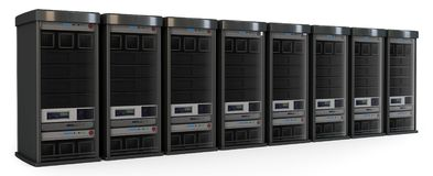 3d row of server racks Royalty Free Stock Photography