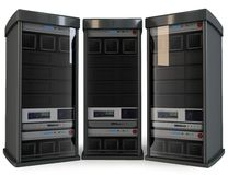 3d row of server racks Stock Images