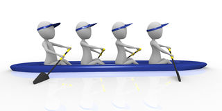 3d Rowing Team Stock Photo