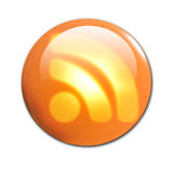 3d RSS button. On a solid white background Royalty Free Stock Images