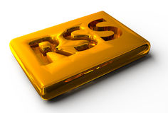 3d rss gold icon Stock Images