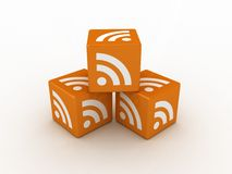 3D RSS Icon Cubes Royalty Free Stock Photo