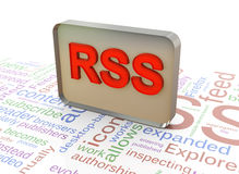 3d RSS on rss wordcloud background Stock Photography