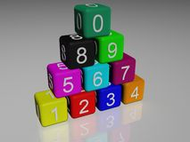 3d rubber cubes. A 3d illustration of colored rubber cubes Royalty Free Stock Photos