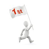 3d running man with flag. 3d running man with a flag - winner concept Royalty Free Stock Images