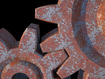 3D rusted gears. 3D rendering of rusted gears on black background Royalty Free Stock Photo