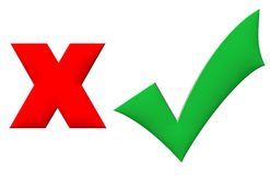 3d sì e nessun simbolo per il voto Immagini Stock