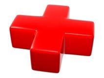 3D símbolo - cruz (vermelha) Fotos de Stock Royalty Free