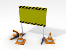 3D Safety Board With Safety Cones Royalty Free Stock Photography