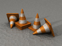 3D Safety Cones on asphalt road Royalty Free Stock Images