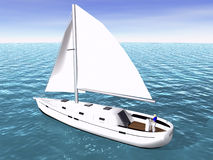 3D Sailboat on sea Royalty Free Stock Photo
