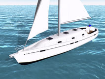 3D Sailboat on water Stock Photography