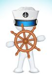 3d Sailor with Steering Wheel Stock Photos