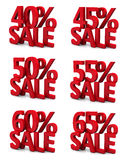 3d sale 40 45 50 55 60 65 percent. 3d collection word sale 40 45 50 55 60 65 percent Royalty Free Stock Photography