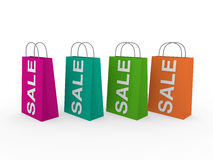 3d sale bag colorful. 3d sale bag pink retail shopping discount buy Royalty Free Stock Image
