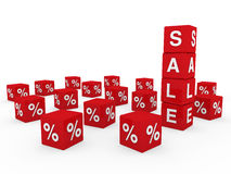 3d sale cube red. Discount percentage sell buy Stock Image
