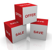 3d sale, offer and save words cubes Stock Photos