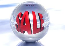 3D Sale Sign Reflection Stock Photo