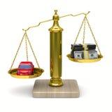 3d samochód spienięża odosobnione skala Obraz Stock