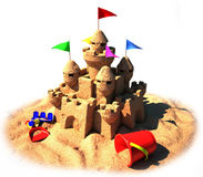 3d sand castle. With colorful toys and flags Stock Image