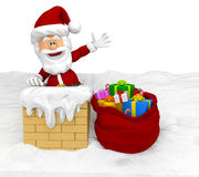 3D Santa in the chimney Stock Photography
